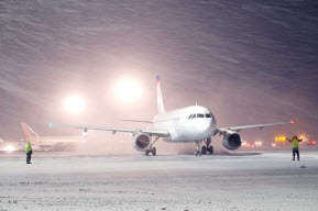 Passenger jet sitting on the tarmac in a snow storm