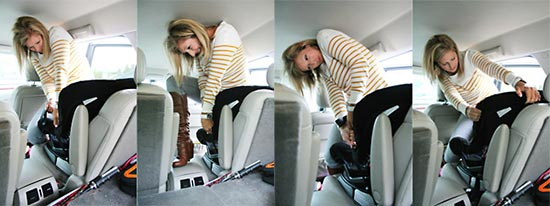 A mother installing a car seat montage