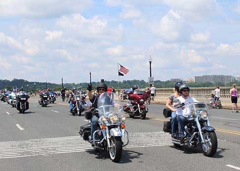 Hundreds of motorcyclists riding The Run honoring all those who have served in the military